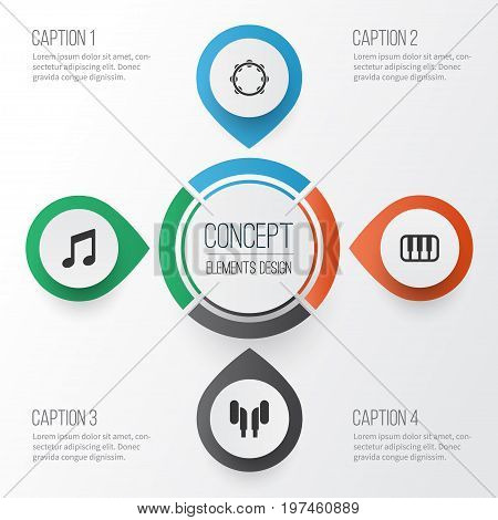 Multimedia Icons Set. Collection Of Octave, Earmuff, Timbrel And Other Elements