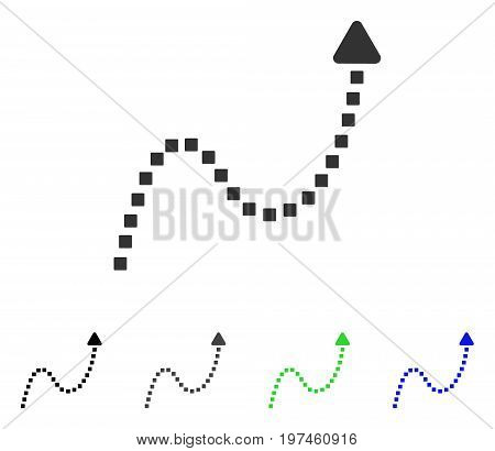 Dotted Curve Direction flat vector pictogram. Colored dotted curve direction gray black blue green icon versions. Flat icon style for web design.