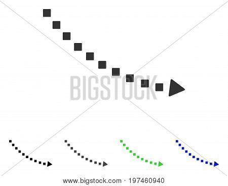 Dotted Decline Trend flat vector pictogram. Colored dotted decline trend gray black blue green icon versions. Flat icon style for graphic design.