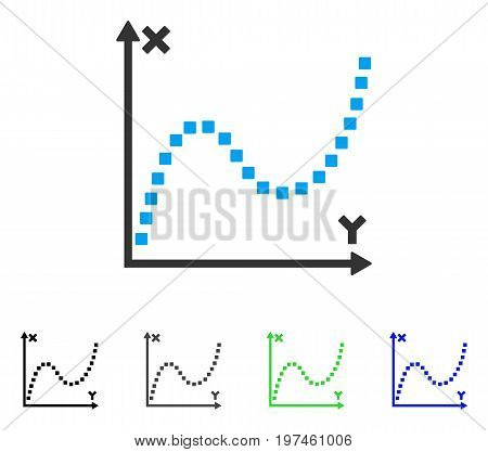 Dotted Plot flat vector icon. Colored dotted plot gray black blue green icon variants. Flat icon style for web design.
