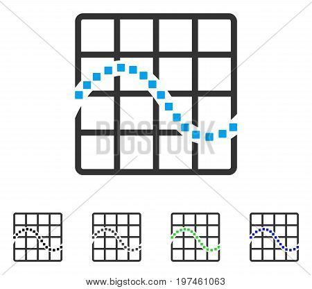 Function Chart flat vector pictogram. Colored function chart gray black blue green icon variants. Flat icon style for graphic design.
