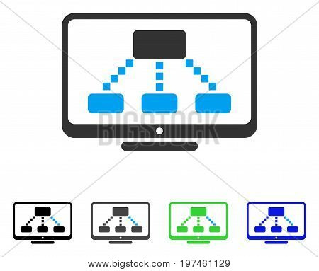 Hierarchy Monitor flat vector illustration. Colored hierarchy monitor gray black blue green pictogram variants. Flat icon style for application design.