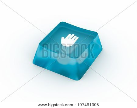 Palm symbol on transparent keyboard button. 3D rendering