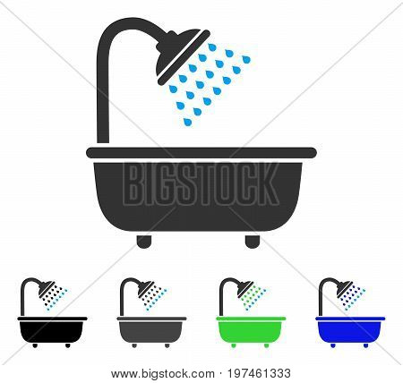 Bath Shower flat vector icon. Colored bath shower gray black blue green pictogram versions. Flat icon style for graphic design.