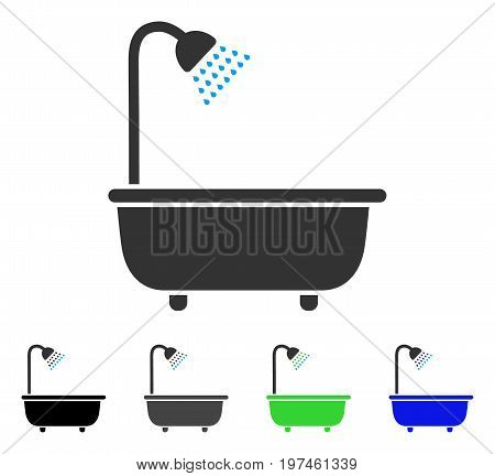 Bath Shower flat vector pictogram. Colored bath shower gray black blue green pictogram versions. Flat icon style for web design.