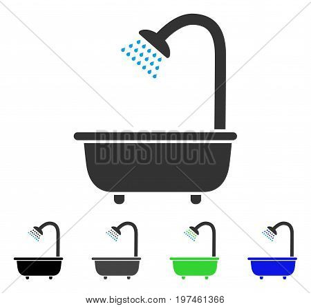 Bath Shower flat vector pictograph. Colored bath shower gray black blue green pictogram variants. Flat icon style for web design.