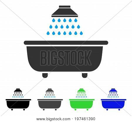 Bath Shower flat vector pictogram. Colored bath shower gray black blue green pictogram variants. Flat icon style for graphic design.