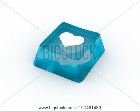 Heart symbol on transparent keyboard button. 3D rendering