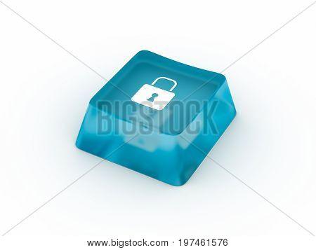 Lock symbol on transparent keyboard button. 3D rendering