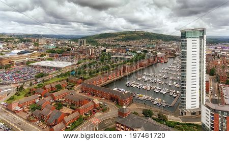 Editorial Swansea, UK - July 29, 2017: A view of Swansea East side showing Kilvey Hill, the Marina and the Meridian Tower, the tallest building in Wales, UK