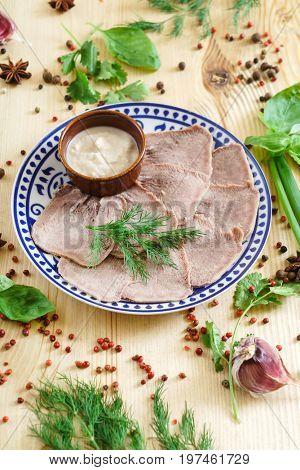 beef tongue with horseradish sauce