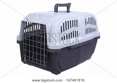 Cage carrying for animals on a white background isolation