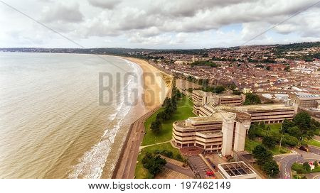 Editorial Swansea, UK - July 29, 2017: Swansea Civic Centre containing the council chambers, public cafe, central library, exhibition space, West Glamorgan Archive Service, and council contact centre.
