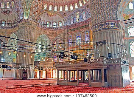 ISTANBUL, TURKEY - MARCH 30, 2013: Inside the Blue Mosque (Sultanahmet Camii) in the evening. It was built from 1609 to 1616 during the rule of Ahmed I