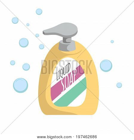 Trendy cartoon style liquid soap bottle with dispenser and bubbles. Every day hygiene and health care vector illustration.
