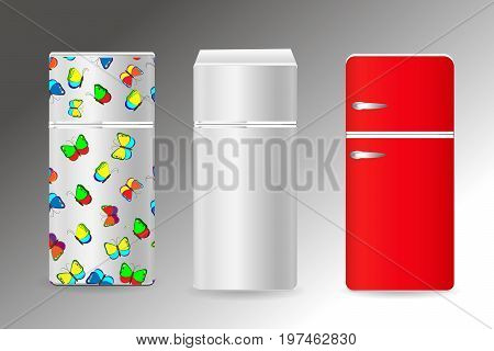 Refrigerators set. Red white and multi-colored refrigerators