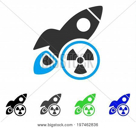 Atomic Rocket Science flat vector pictograph. Colored atomic rocket science gray, black, blue, green pictogram variants. Flat icon style for web design.