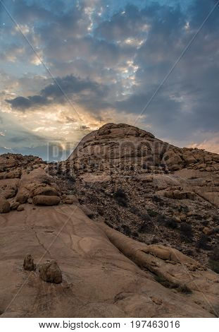 Sunset in Spitzkoppe mountains Damaraland in Namibia