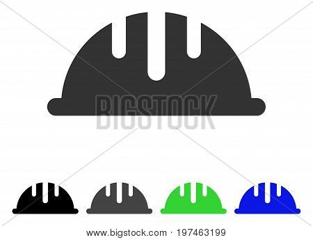 Helmet flat vector pictogram. Colored helmet gray, black, blue, green icon variants. Flat icon style for graphic design.