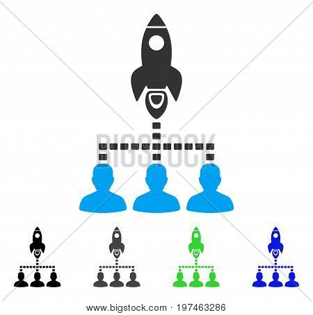 Rocket Space Community flat vector pictogram. Colored rocket space community gray, black, blue, green icon variants. Flat icon style for graphic design.