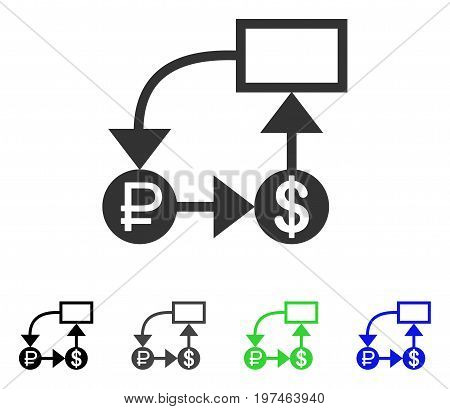 Rouble And Dollar Scheme flat vector pictograph. Colored rouble and dollar scheme gray, black, blue, green pictogram variants. Flat icon style for application design.