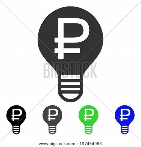 Rouble Bulb flat vector pictogram. Colored rouble bulb gray, black, blue, green pictogram variants. Flat icon style for graphic design.