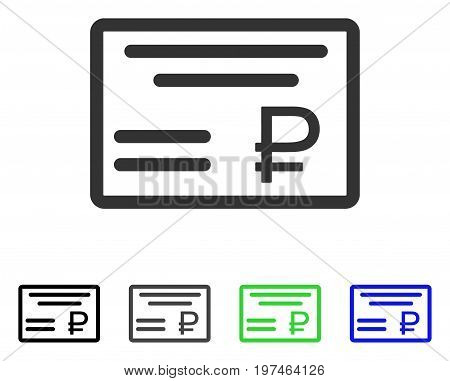 Rouble Cheque flat vector pictograph. Colored rouble cheque gray, black, blue, green icon versions. Flat icon style for graphic design.