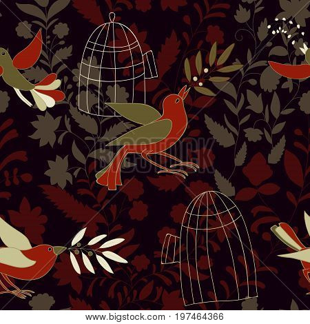 Dark colorful seamless wallpaper with birds, olive branches and birdcages. Nature pattern for web, textile, backdrop, background. Birds fly from the cells to freedom