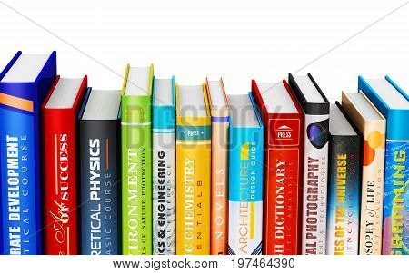 3D render illustration of color hardcover books isolated on white background