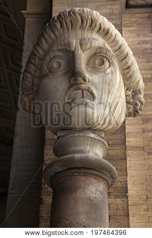 Antic drama roman mask in Vatican, Rome, Italy