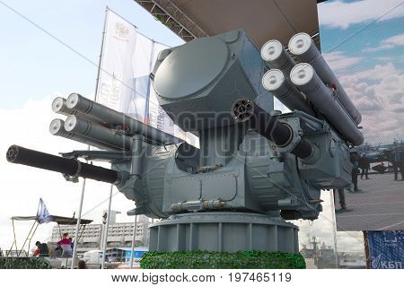 RUSSIA, SAINT-PETERSBURG - JULY 02, 2017: Ship-borne anti-aircraft missile-artillery complex