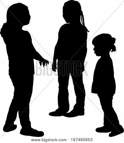 three children talking, silhouette vector art work