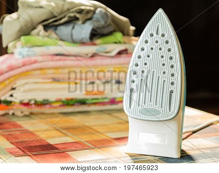 Electric iron for Ironing. Ironing room. Household items