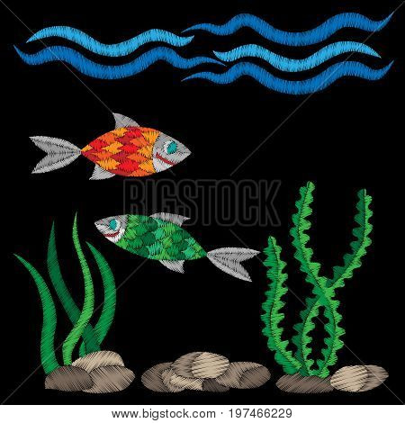 Colorful fish under water embroidery stitches imitation on the black background. Embroidery fish with wave for logo label emblem sign poster t-shirt print. Vector embroidery illustration.