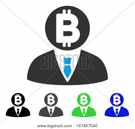 Bitcoin Manager flat vector icon. Colored bitcoin manager gray, black, blue, green pictogram versions. Flat icon style for graphic design.