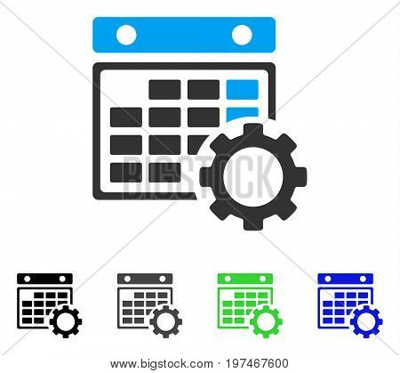 Calendar Configuration flat vector illustration. Colored calendar configuration gray, black, blue, green pictogram versions. Flat icon style for graphic design.