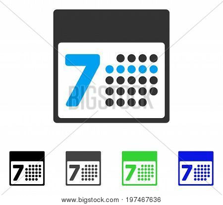 Calendar Week flat vector icon. Colored calendar week gray, black, blue, green icon versions. Flat icon style for graphic design.