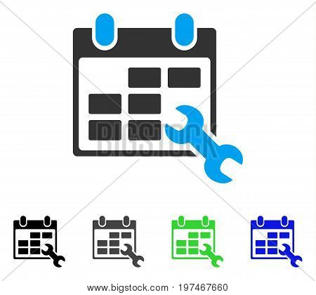 Configure Timetable flat vector illustration. Colored configure timetable gray, black, blue, green pictogram variants. Flat icon style for graphic design.
