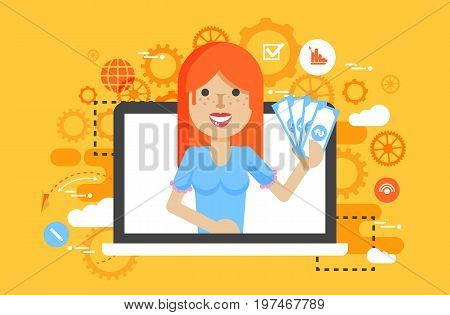 Stock vector illustration woman money in hand design element financial education, banking, deposit, win, earning, income, saving discount, online marketing management flat style yellow background icon