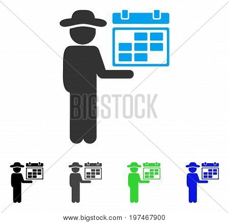 Gentleman Schedule flat vector illustration. Colored gentleman schedule gray, black, blue, green icon versions. Flat icon style for graphic design.