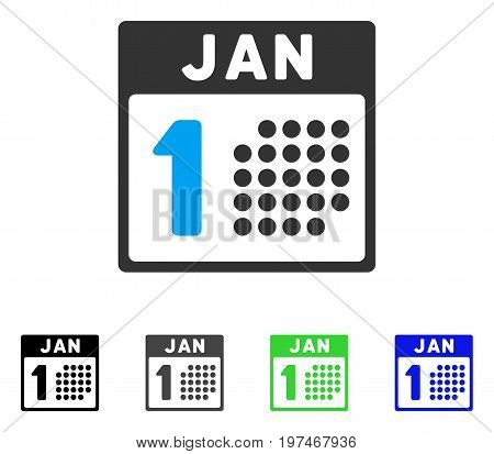 January First flat vector pictogram. Colored january first gray, black, blue, green icon versions. Flat icon style for application design.