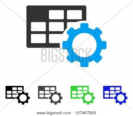 Schedule Settings flat vector pictogram. Colored schedule settings gray, black, blue, green pictogram versions. Flat icon style for graphic design.