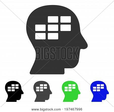 Schedule Thinking flat vector illustration. Colored schedule thinking gray, black, blue, green pictogram versions. Flat icon style for web design.