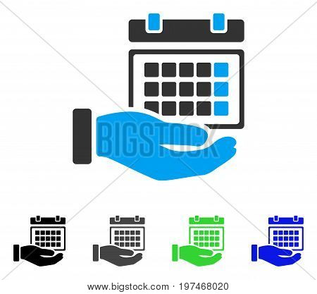 Service Timetable flat vector pictograph. Colored service timetable gray, black, blue, green pictogram variants. Flat icon style for application design.
