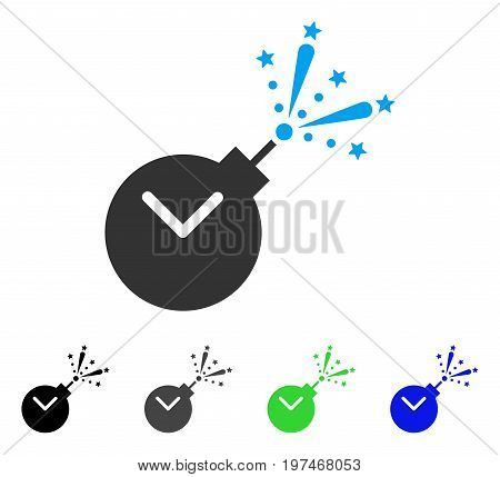 Time Fireworks Charge flat vector icon. Colored time fireworks charge gray, black, blue, green pictogram variants. Flat icon style for web design.