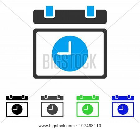 Time Schedule flat vector icon. Colored time schedule gray, black, blue, green icon variants. Flat icon style for web design.