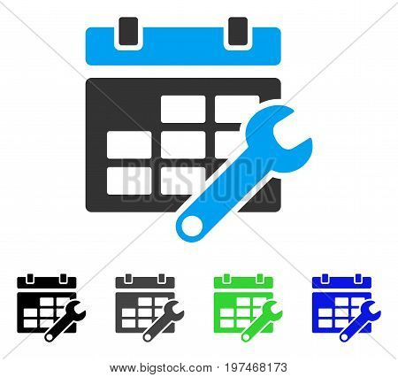 Timetable Options flat vector icon. Colored timetable options gray, black, blue, green icon variants. Flat icon style for web design.