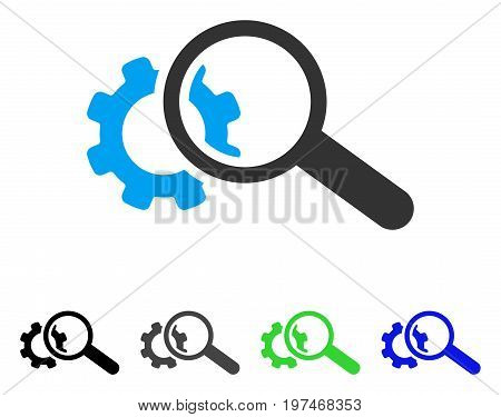 Seo Tools flat vector illustration. Colored seo tools gray, black, blue, green icon variants. Flat icon style for web design.