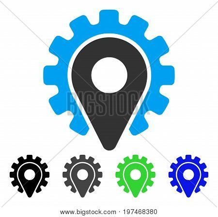 Service Location flat vector illustration. Colored service location gray, black, blue, green icon variants. Flat icon style for application design.