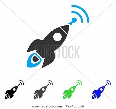 Space Rocket Radio Translation flat vector pictograph. Colored space rocket radio translation gray, black, blue, green icon variants. Flat icon style for application design.